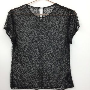 Laundry Shelli Segal Glass Beaded Mesh Top Small